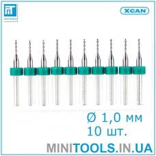 Микро сверла 10 шт. Ø 1,0 мм карбид вольфрама XCAN