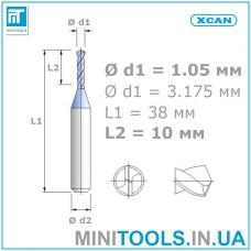 Микро сверло 1 шт. Ø 1,05 мм карбид вольфрама XCAN