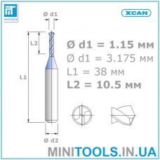 Микро сверло 1 шт. Ø 1,15 мм карбид вольфрама XCAN