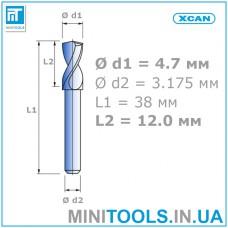 """Сверло 1 шт. Ø 4,7 мм  хвостовик 3,175 мм (1/8"""") для плат (PCB) карбид вольфрама XCAN"""