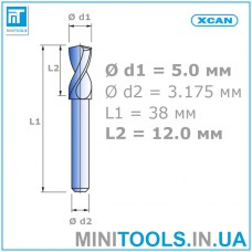 """Сверло 1 шт. Ø 5,0 мм  хвостовик 3,175 мм (1/8"""") для плат (PCB) карбид вольфрама XCAN"""