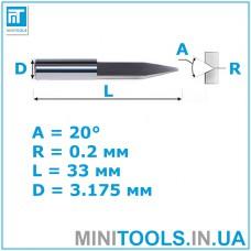 Радиусный конический гравер 20° 0,2 мм L=33 мм D=3,175 мм