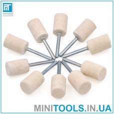 Фетровые полировальные насадки цилиндр 10 мм (полировочный войлок) набор 10 шт. для гравера / дремель / Dremel