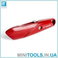 Нож с выдвижным трапециевидным лезвием, металлический корпус INTERTOOL HT-0505