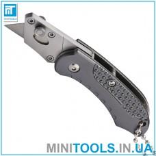 Нож строительный складной мини с трапециевидным лезвием SK5, алюминиевая рукоятка INTERTOOL HT-0532