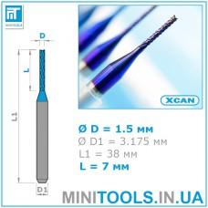 """Фреза """"кукуруза"""" Ø 1,5 мм TiAlN хвостовик 1/8"""" (3,175 мм) карбид вольфрама XCAN (синее покрытие)"""