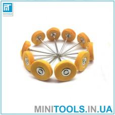 Набор 10 шт. кругов муслиновых тканевых желтых (с пропиткой) Ø23 мм хвостовик 2,35 мм для гравера / дремель / Dremel