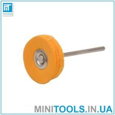 Круг муслиновый тканевой желтый (с пропиткой) Ø23 мм хвостовик 2,35 мм для гравера / дремель / Dremel