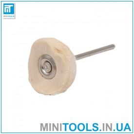 Круг муслиновый тканевой белый (без пропитки) Ø23 мм хвостовик 2,35 мм для гравера / дремель / Dremel