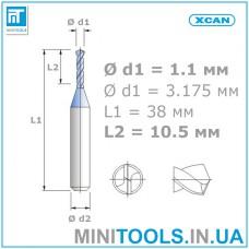 Микро сверло 1 шт. Ø 1,1 мм карбид вольфрама XCAN
