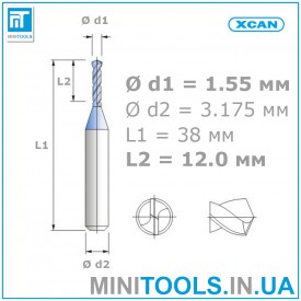 Микро сверло 1 шт. Ø 1,55 мм карбид вольфрама XCAN