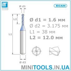 Микро сверло 1 шт. Ø 1,6 мм карбид вольфрама XCAN