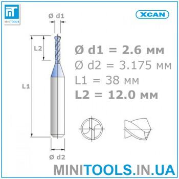 Микро мини сверло 1 шт 2,6 мм карбид вольфрама XCAN