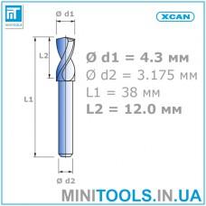 """Сверло 1 шт. Ø 4,3 мм  хвостовик 3,175 мм (1/8"""") для плат (PCB) карбид вольфрама XCAN"""