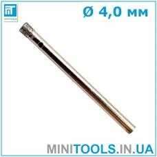 Сверло алмазное 4 мм 1 шт. трубчатое по стеклу и керамике INTERTOOL SD-0342